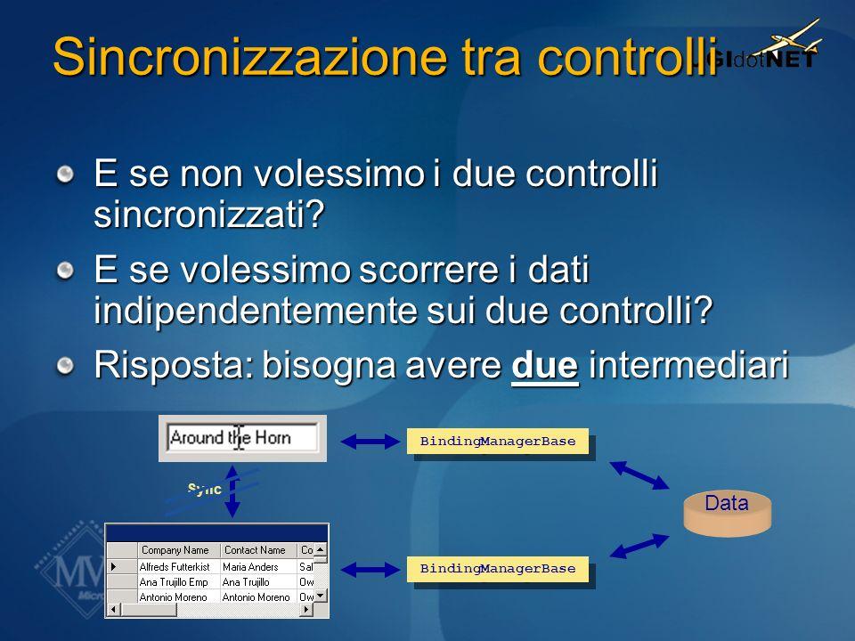 Sincronizzazione tra controlli E se non volessimo i due controlli sincronizzati? E se volessimo scorrere i dati indipendentemente sui due controlli? R