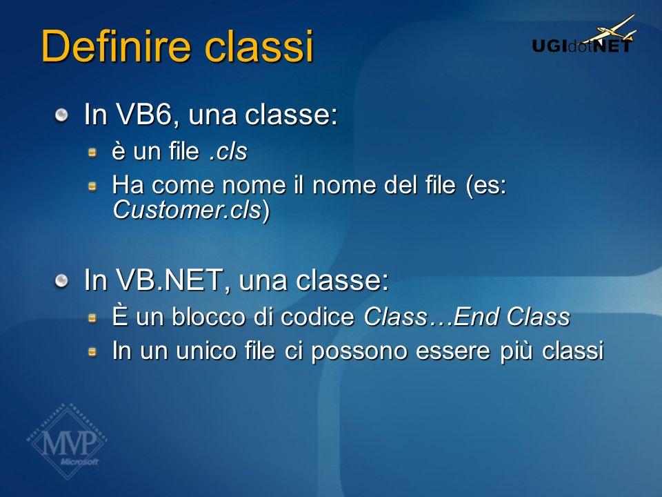 Definire classi In VB6, una classe: è un file.cls Ha come nome il nome del file (es: Customer.cls) In VB.NET, una classe: È un blocco di codice Class…