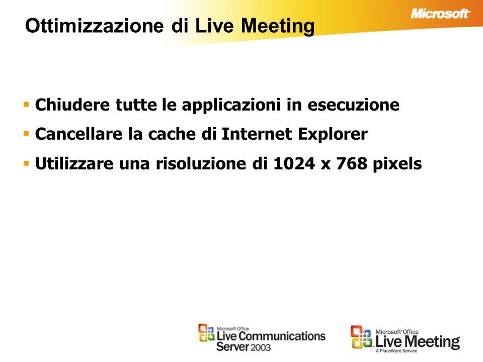 Ottimizzazione di Live Meeting Chiudere tutte le applicazioni in esecuzione Cancellare la cache di Internet Explorer Utilizzare una risoluzione di 1024 x 768 pixels