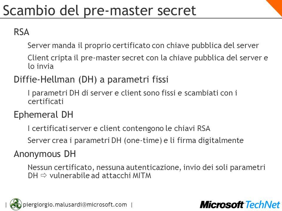 | piergiorgio.malusardi@microsoft.com | Scambio del pre-master secret RSA Server manda il proprio certificato con chiave pubblica del server Client cr