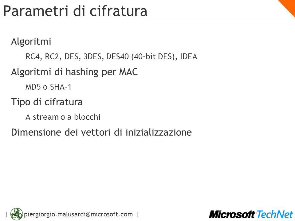 | piergiorgio.malusardi@microsoft.com | Parametri di cifratura Algoritmi RC4, RC2, DES, 3DES, DES40 (40-bit DES), IDEA Algoritmi di hashing per MAC MD
