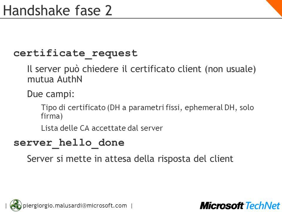 | piergiorgio.malusardi@microsoft.com | Handshake fase 2 certificate_request Il server può chiedere il certificato client (non usuale) mutua AuthN Due