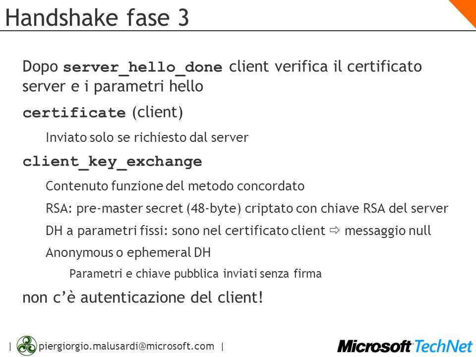 | piergiorgio.malusardi@microsoft.com | Handshake fase 3 Dopo server_hello_done client verifica il certificato server e i parametri hello certificate