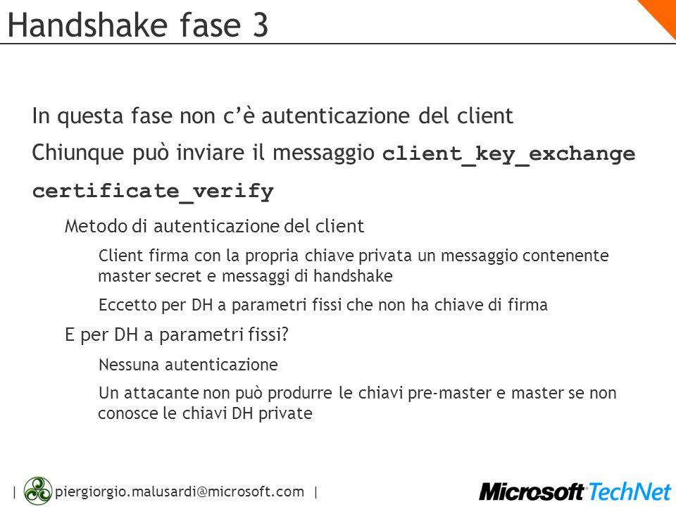 | piergiorgio.malusardi@microsoft.com | Handshake fase 3 In questa fase non cè autenticazione del client Chiunque può inviare il messaggio client_key_