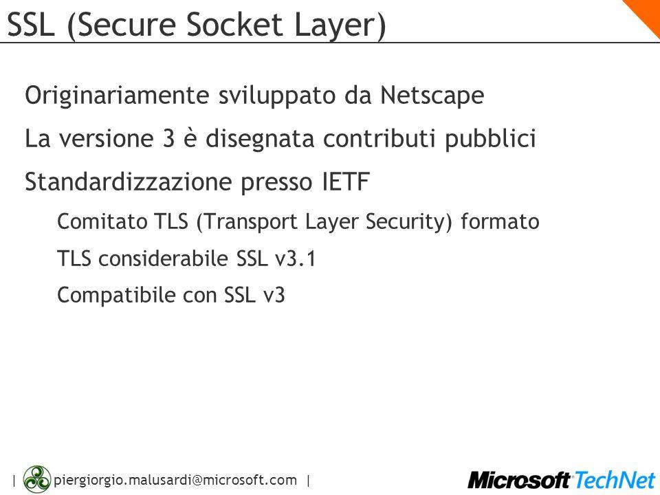 | piergiorgio.malusardi@microsoft.com | SSL (Secure Socket Layer) Originariamente sviluppato da Netscape La versione 3 è disegnata contributi pubblici