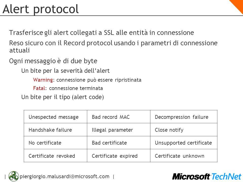 | piergiorgio.malusardi@microsoft.com | Alert protocol Trasferisce gli alert collegati a SSL alle entità in connessione Reso sicuro con il Record prot