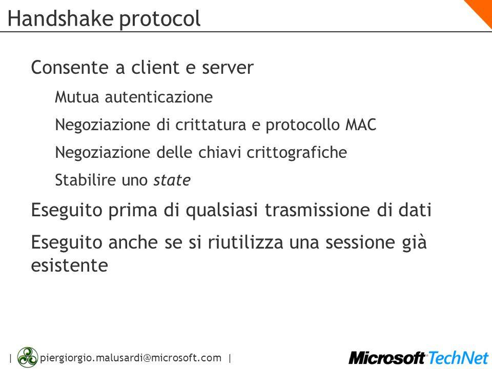 | piergiorgio.malusardi@microsoft.com | Handshake protocol Consente a client e server Mutua autenticazione Negoziazione di crittatura e protocollo MAC