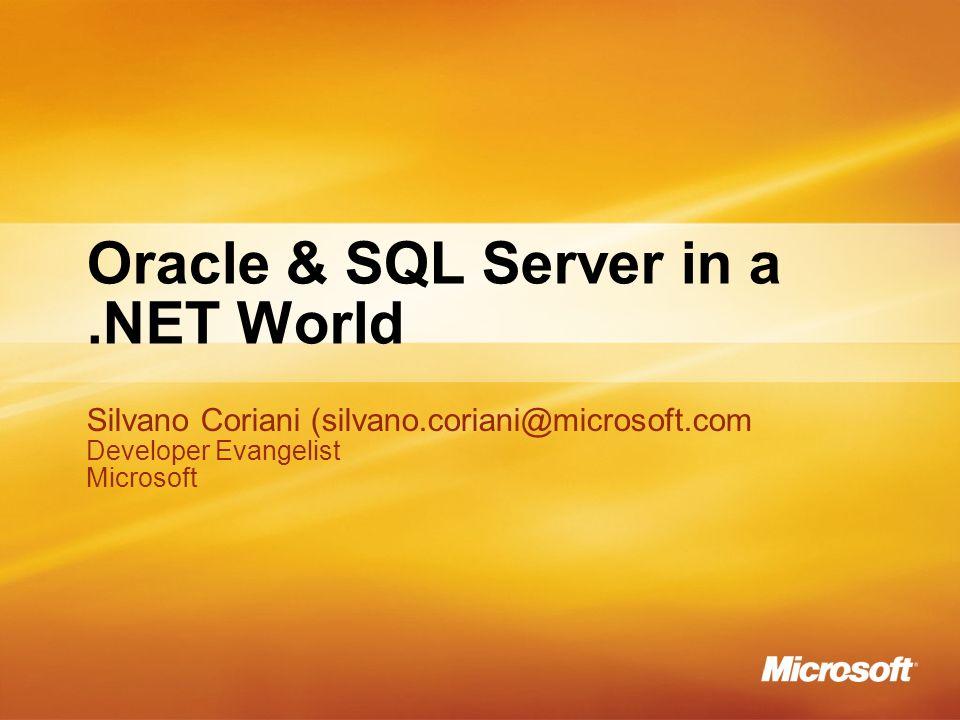 Agenda Il miglior RDBMS per.NET Microsoft SQL Server 2005 Ok, ok…viviamo in un mondo meticcio Oracle 8i/9i/10g (10.1.0,10.2.0) IBM DB2 UDB 8.2.2.NET Development Problemi simili, ambienti e soluzioni diverse Best practices e dintorni Il miglior RDBMS per.NET Microsoft SQL Server 2005 Ok, ok…viviamo in un mondo meticcio Oracle 8i/9i/10g (10.1.0,10.2.0) IBM DB2 UDB 8.2.2.NET Development Problemi simili, ambienti e soluzioni diverse Best practices e dintorni