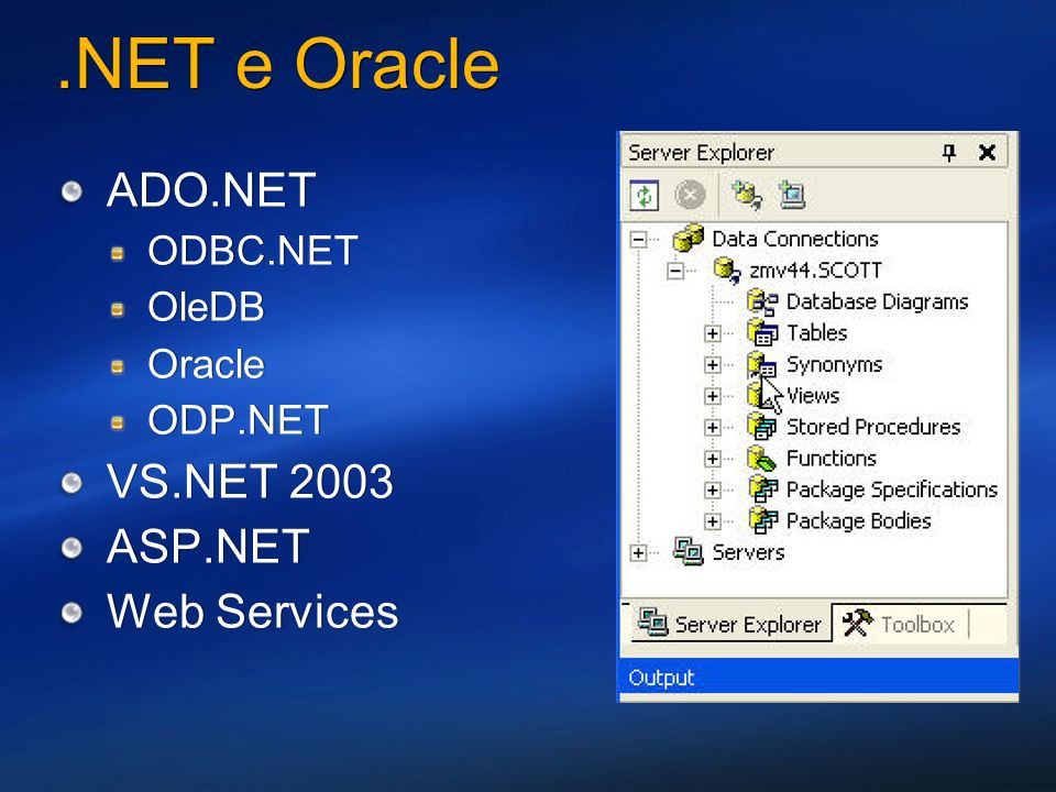 .NET e Oracle ADO.NET ODBC.NET OleDB Oracle ODP.NET VS.NET 2003 ASP.NET Web Services ADO.NET ODBC.NET OleDB Oracle ODP.NET VS.NET 2003 ASP.NET Web Ser
