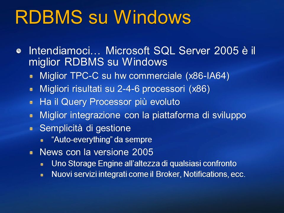 Integrazione con Visual Studio.NET Dynamic Help Documentazione ODP.NET – F1 key Server Explorer Tables, views, e synonyms Query e view designer Stored procedures, functions, triggers, package bodies, package specifications Execute, create, delete Intellisense Drag-and-drop da Data toolbox Dynamic Help Documentazione ODP.NET – F1 key Server Explorer Tables, views, e synonyms Query e view designer Stored procedures, functions, triggers, package bodies, package specifications Execute, create, delete Intellisense Drag-and-drop da Data toolbox
