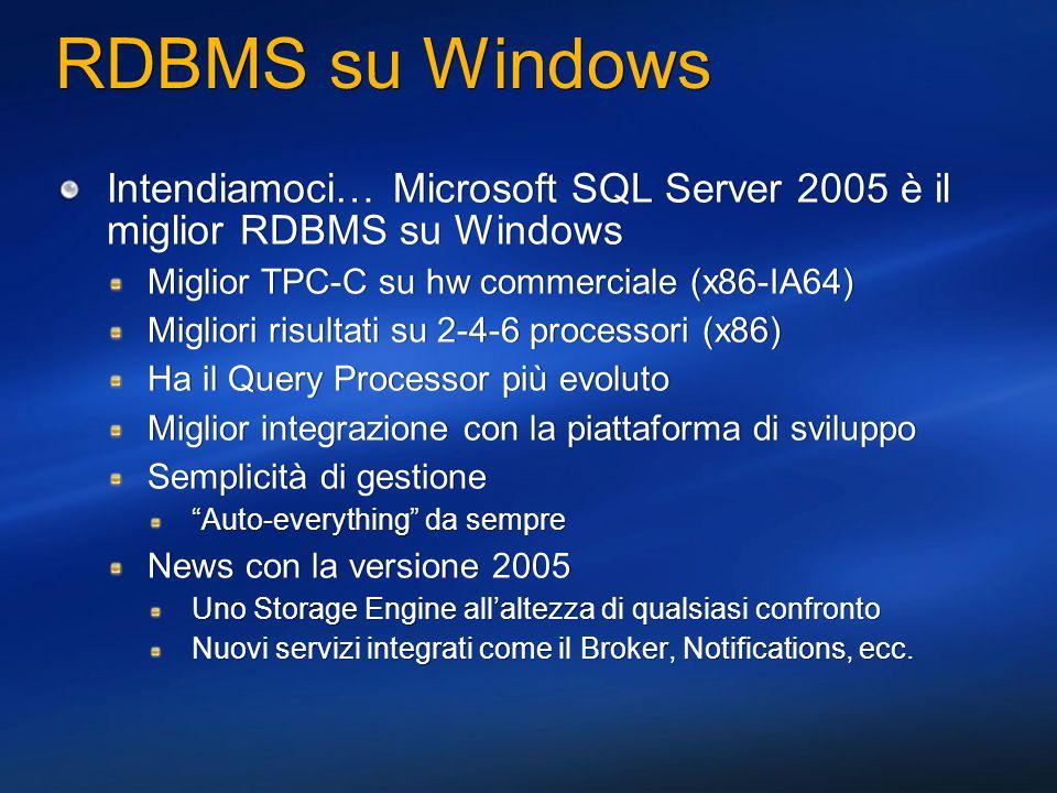 RDBMS su Windows Ma non siamo soli… Oracle, dalla 8i alla 10g (10.2.0) Pro (cosa gli invidio) La reputazione e il know how Lo storage engine Contro Query Proc solido ma non particolarmente smart Costi licenze comunque elevati, e componenti aggiuntive a pagamento Complessità di gestione (capacity planning, installazione, tuning, amministrazione) IBM DB 2 Pro Query proc decisamente interessante Il TPC-C benchmark su AIX e POWER5 Contro Versioni differenti sulle diverse piattaforme Funzionalità, comportamenti, modelli di programmazione Strumenti di gestione incoerenti Servizi poco integrati tra di loro Ma non siamo soli… Oracle, dalla 8i alla 10g (10.2.0) Pro (cosa gli invidio) La reputazione e il know how Lo storage engine Contro Query Proc solido ma non particolarmente smart Costi licenze comunque elevati, e componenti aggiuntive a pagamento Complessità di gestione (capacity planning, installazione, tuning, amministrazione) IBM DB 2 Pro Query proc decisamente interessante Il TPC-C benchmark su AIX e POWER5 Contro Versioni differenti sulle diverse piattaforme Funzionalità, comportamenti, modelli di programmazione Strumenti di gestione incoerenti Servizi poco integrati tra di loro