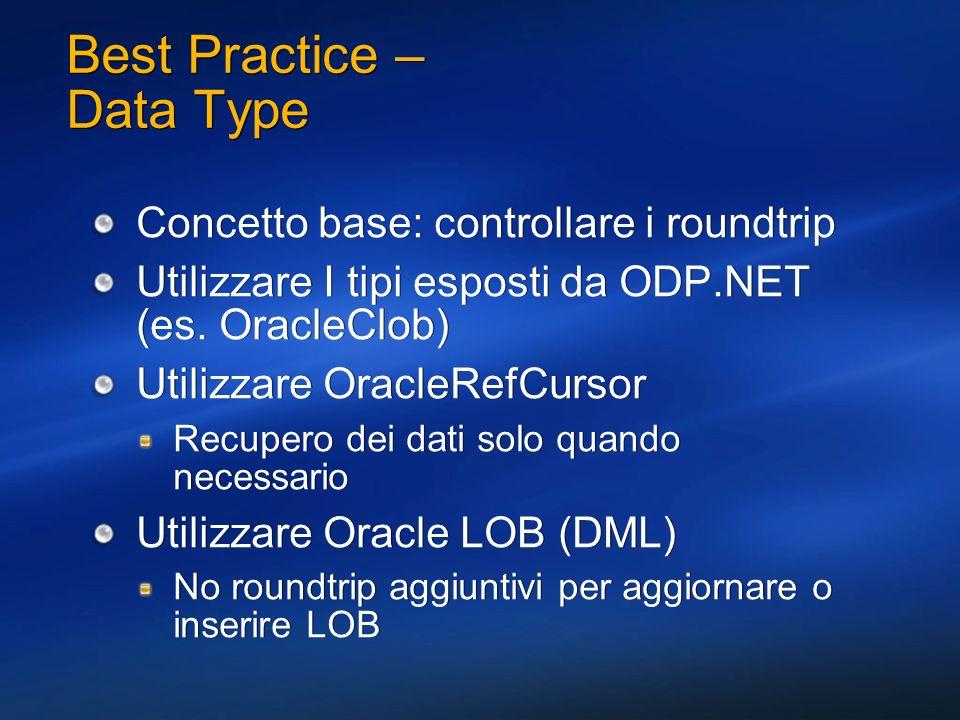 Best Practice – Data Type Concetto base: controllare i roundtrip Utilizzare I tipi esposti da ODP.NET (es. OracleClob) Utilizzare OracleRefCursor Recu