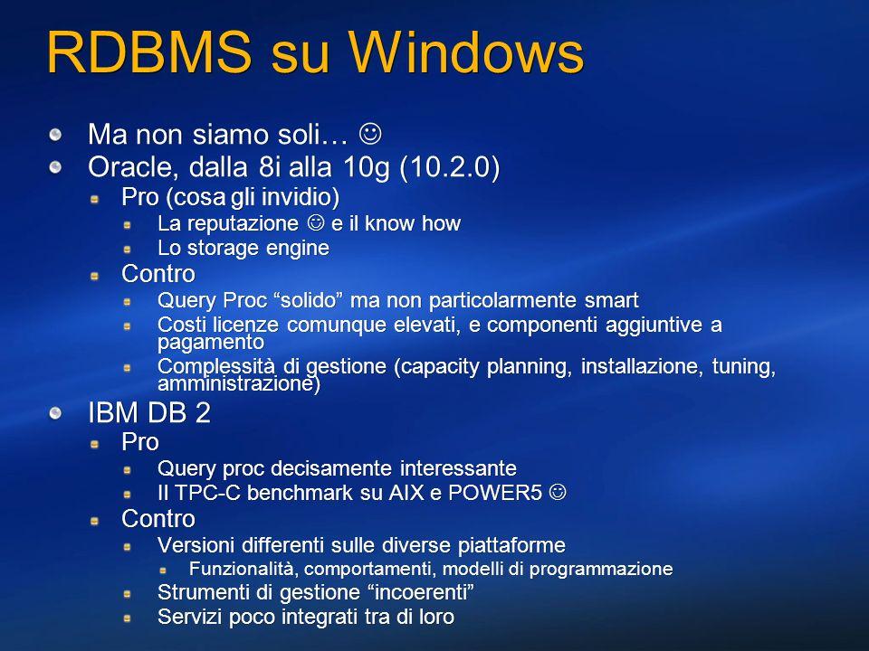 RDBMS su Windows Ma non siamo soli… Oracle, dalla 8i alla 10g (10.2.0) Pro (cosa gli invidio) La reputazione e il know how Lo storage engine Contro Qu