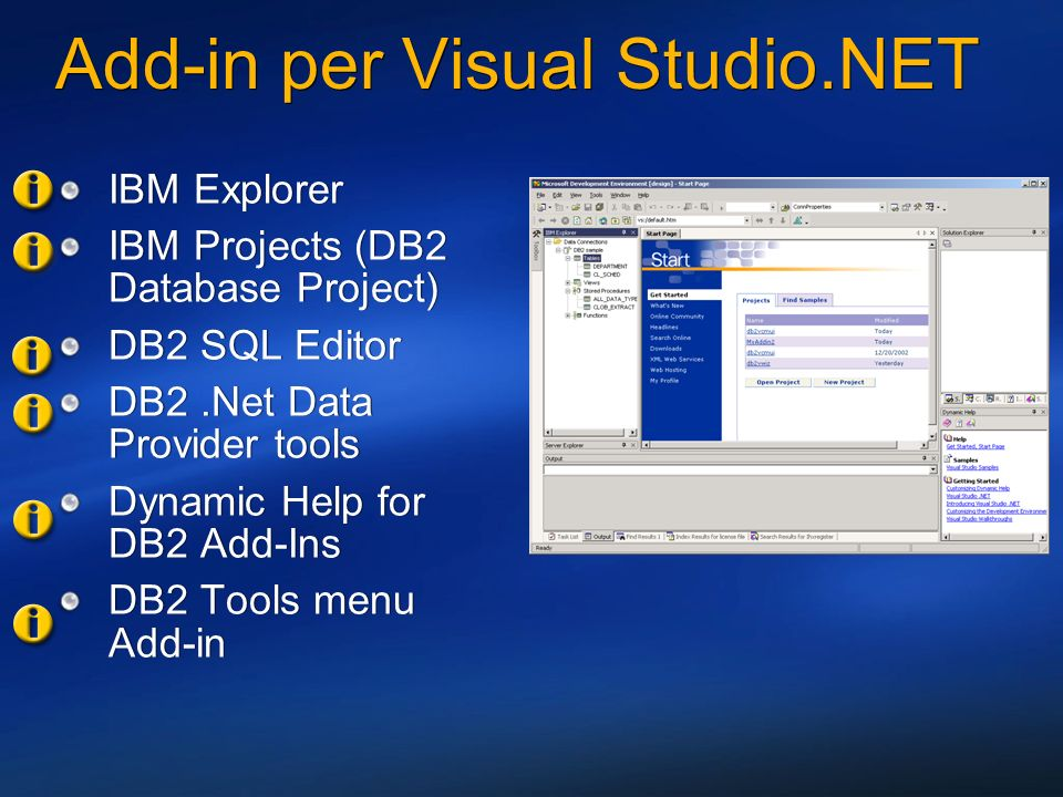 Add-in per Visual Studio.NET IBM Explorer IBM Projects (DB2 Database Project) DB2 SQL Editor DB2.Net Data Provider tools Dynamic Help for DB2 Add-Ins