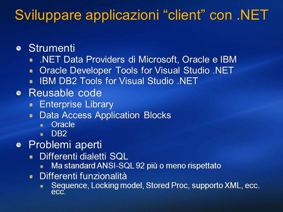 Funzionalità specifiche ODP.NET Stessi nomi di classi dei provider Microsoft e DataDirect Ottimizzazioni sulle connessioni Gestione dei Savepoint nelle transazioni locali e distribuite REF CURSORs BLOB, CLOB, BFILE Stessi nomi di classi dei provider Microsoft e DataDirect Ottimizzazioni sulle connessioni Gestione dei Savepoint nelle transazioni locali e distribuite REF CURSORs BLOB, CLOB, BFILE