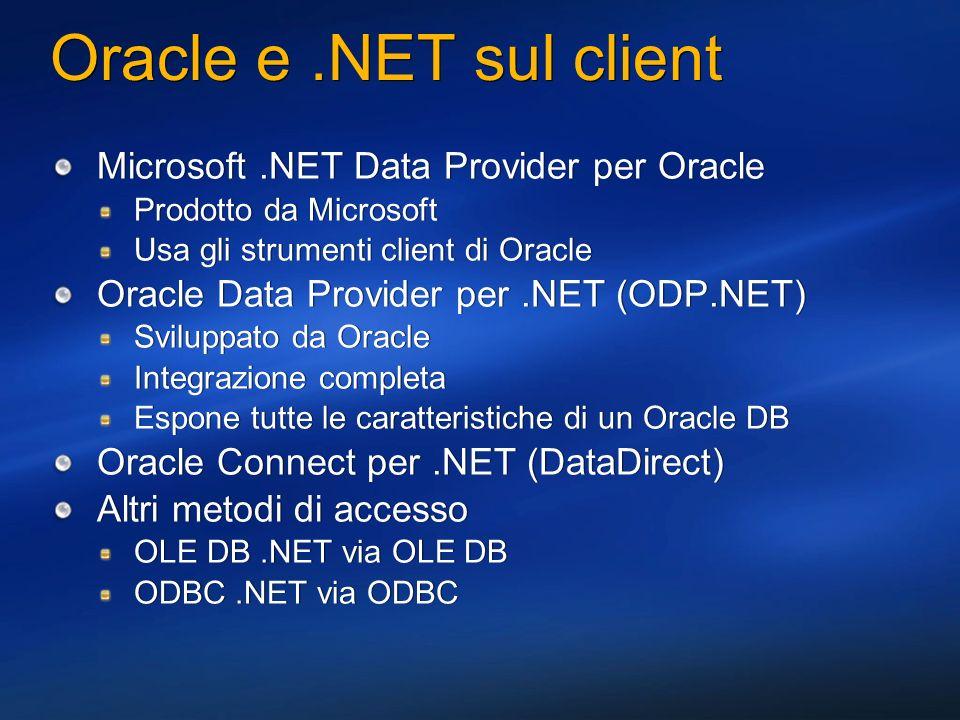 ODP.NET Basics Disponibile gratuitamente.NET Developer Center http://www.oracle.com/technology/tech/dotnet/index.html Può essere usato con Oracle8, Oracle8i, Oracle9i, e Oracle10g Il database server può essere su Unix, Linux, Windows, etc.