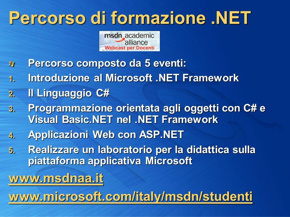 2 Percorso di formazione.NET Percorso composto da 5 eventi: 1.
