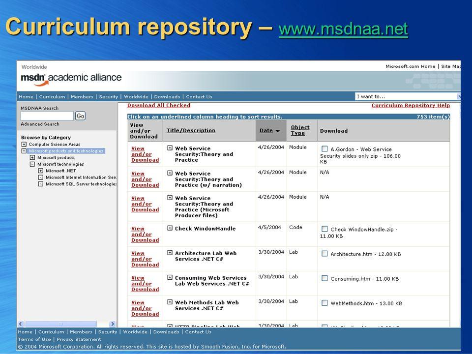 4 Curriculum repository – www.msdnaa.net www.msdnaa.net