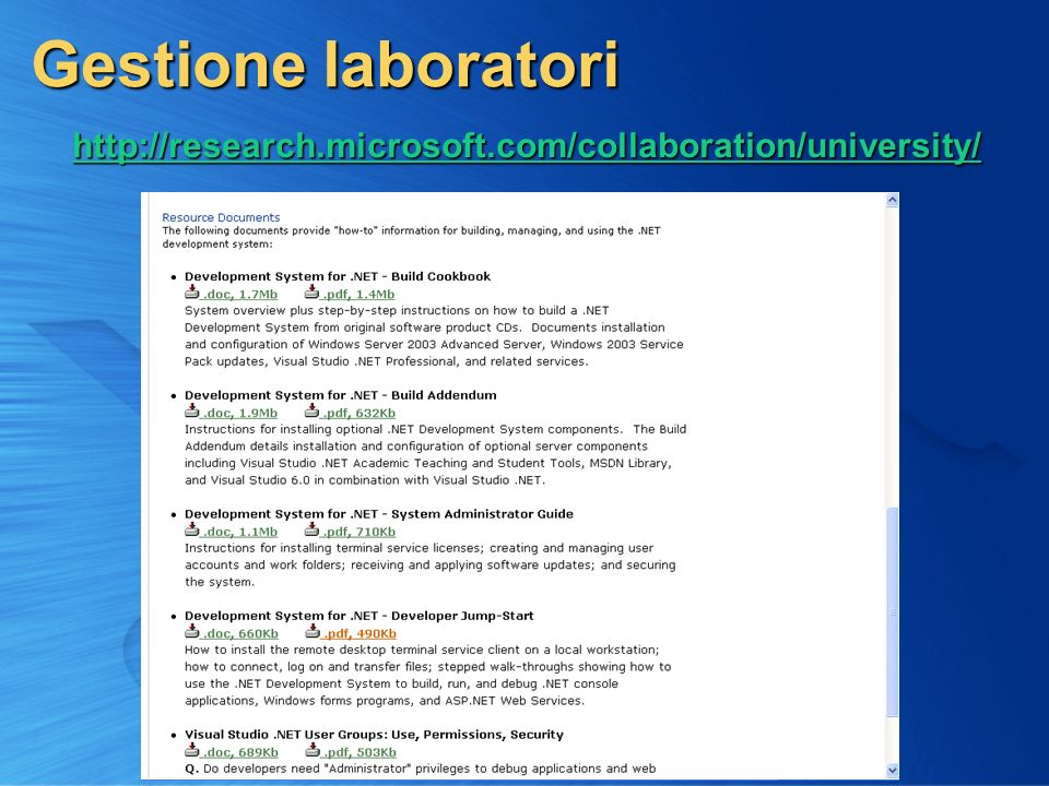 5 Gestione laboratori http://research.microsoft.com/collaboration/university/