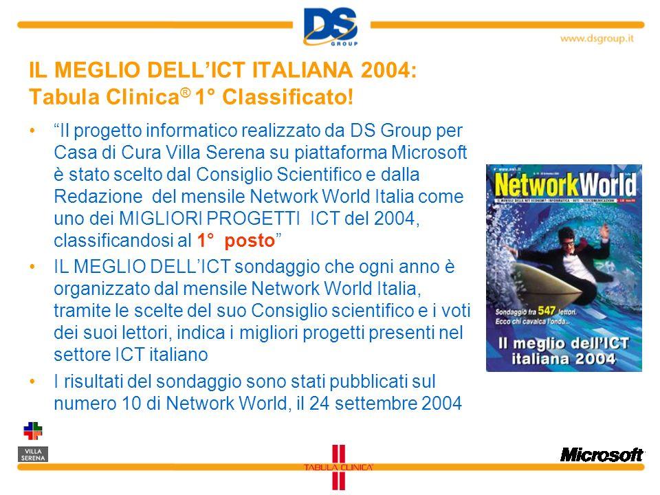 IL MEGLIO DELLICT ITALIANA 2004: Tabula Clinica ® 1° Classificato! Il progetto informatico realizzato da DS Group per Casa di Cura Villa Serena su pia