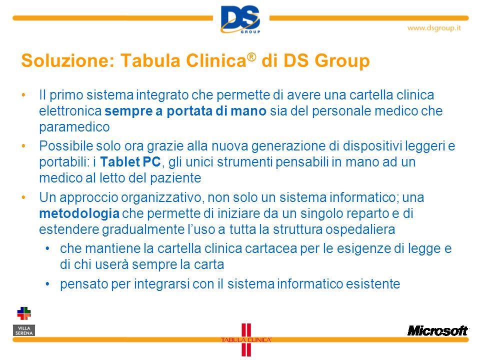 Soluzione: Tabula Clinica ® di DS Group Il primo sistema integrato che permette di avere una cartella clinica elettronica sempre a portata di mano sia