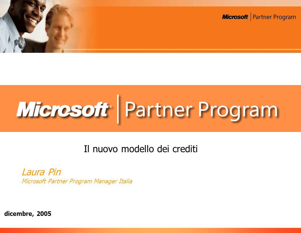 dicembre, 2005 Il nuovo modello dei crediti Laura Pin Microsoft Partner Program Manager Italia