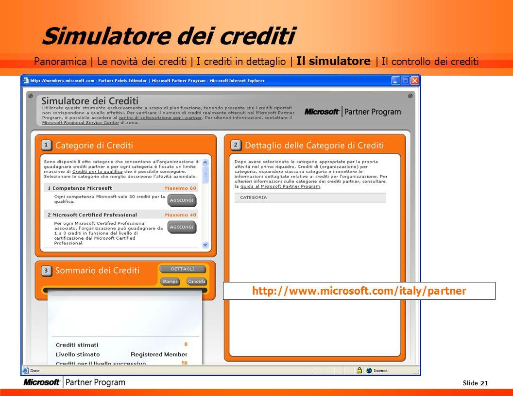 Slide 21 Simulatore dei crediti http://www.microsoft.com/italy/partner Panoramica | Le novità dei crediti | I crediti in dettaglio | Il simulatore | I