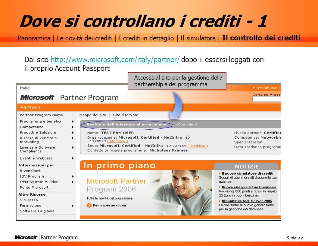 Slide 22 Dove si controllano i crediti - 1 Dal sito http://www.microsoft.com/italy/partner/ dopo il essersi loggati con il proprio Account Passporthtt