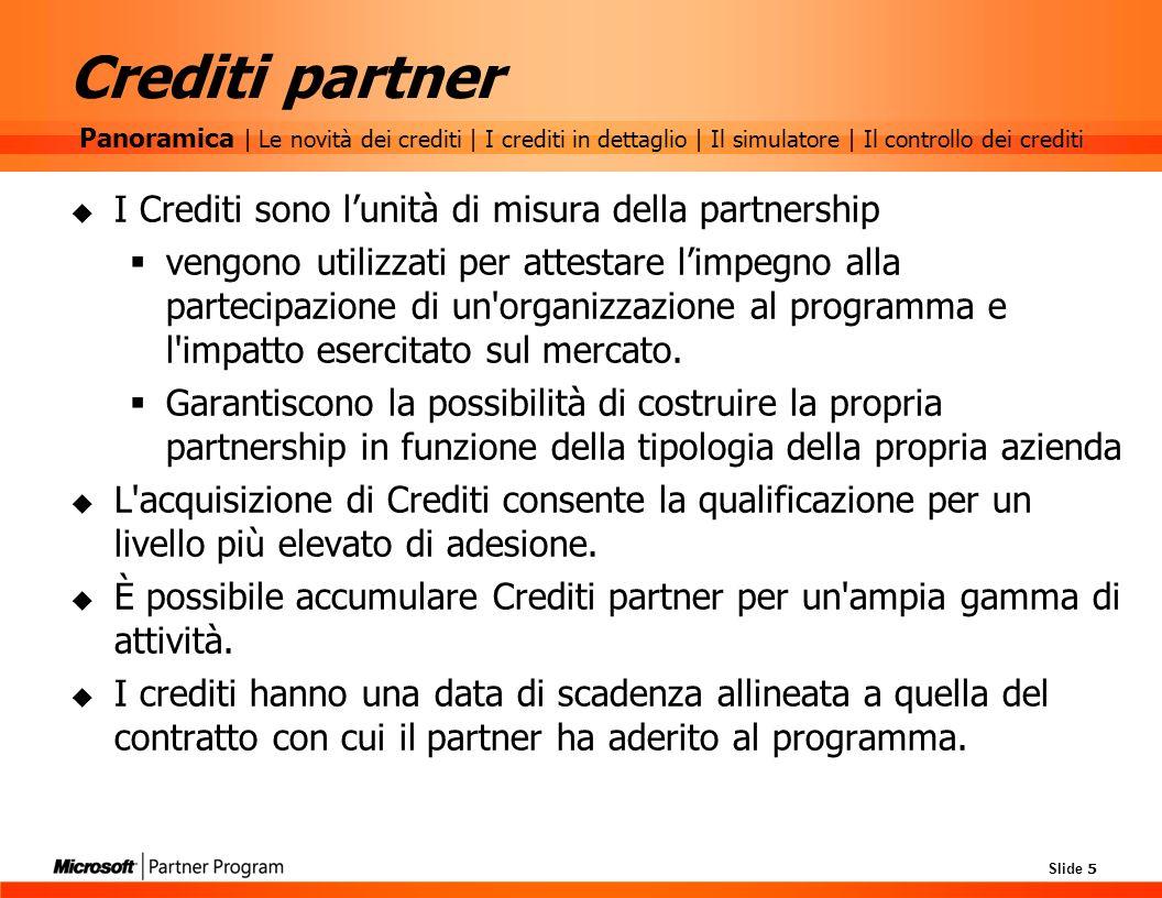 Slide 5 Crediti partner I Crediti sono lunità di misura della partnership vengono utilizzati per attestare limpegno alla partecipazione di un'organizz