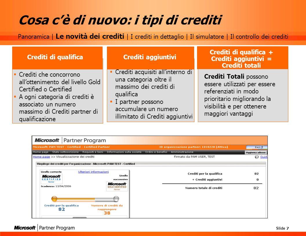 Slide 7 Cosa cè di nuovo: i tipi di crediti Crediti che concorrono allottenimento del livello Gold Certified o Certified A ogni categoria di crediti è