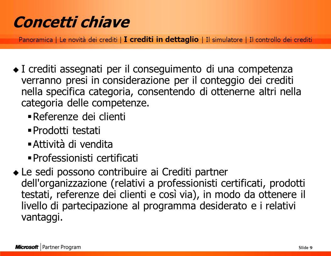 Slide 9 Concetti chiave I crediti assegnati per il conseguimento di una competenza verranno presi in considerazione per il conteggio dei crediti nella