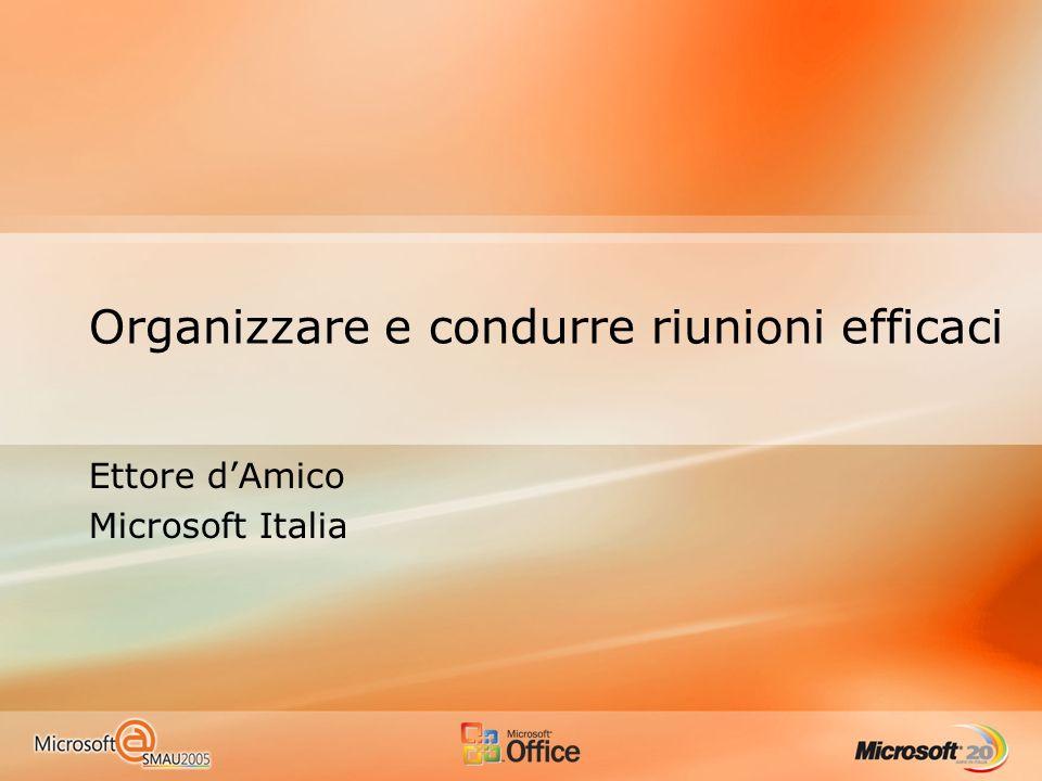 Organizzare e condurre riunioni efficaci Ettore dAmico Microsoft Italia