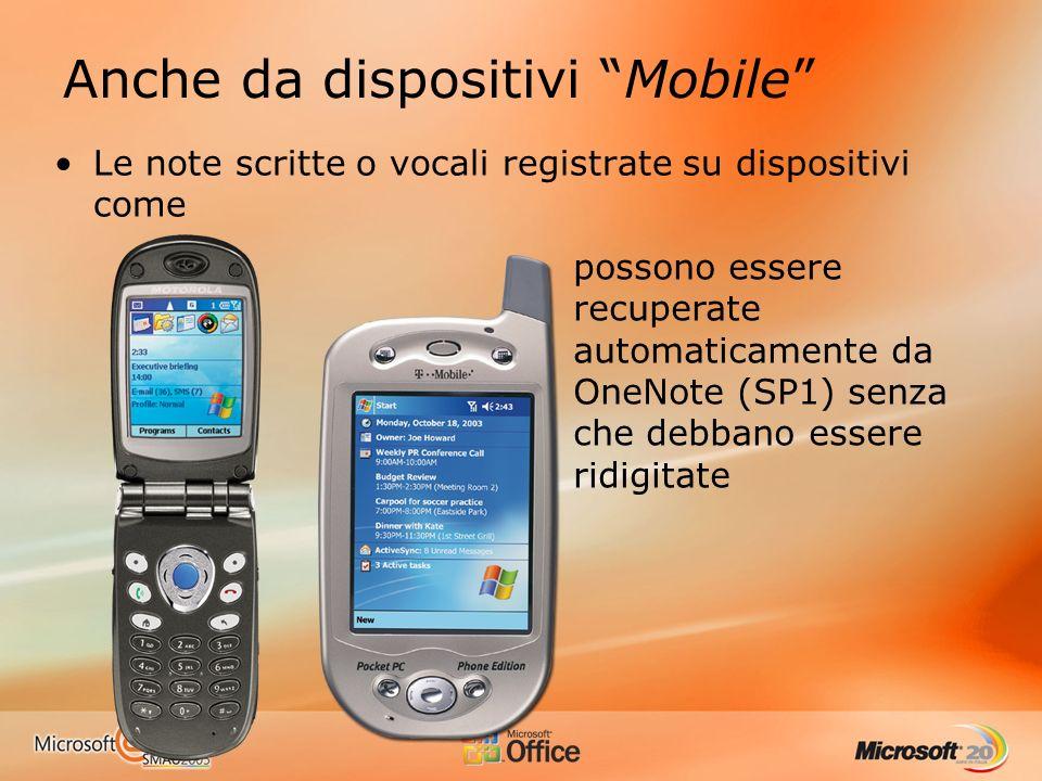 Anche da dispositivi Mobile Le note scritte o vocali registrate su dispositivi come possono essere recuperate automaticamente da OneNote (SP1) senza che debbano essere ridigitate