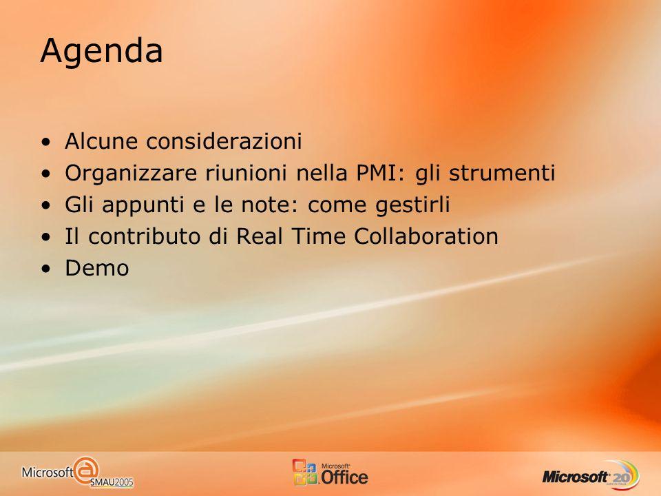 Agenda Alcune considerazioni Organizzare riunioni nella PMI: gli strumenti Gli appunti e le note: come gestirli Il contributo di Real Time Collaboration Demo