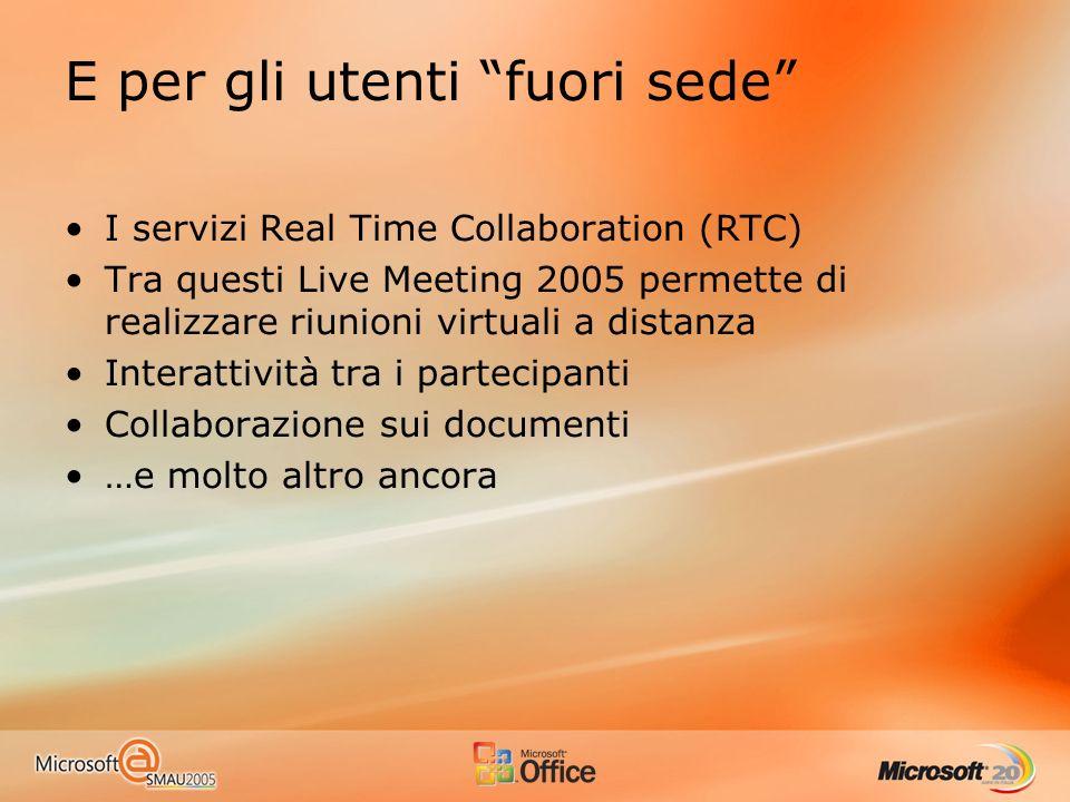 E per gli utenti fuori sede I servizi Real Time Collaboration (RTC) Tra questi Live Meeting 2005 permette di realizzare riunioni virtuali a distanza Interattività tra i partecipanti Collaborazione sui documenti …e molto altro ancora