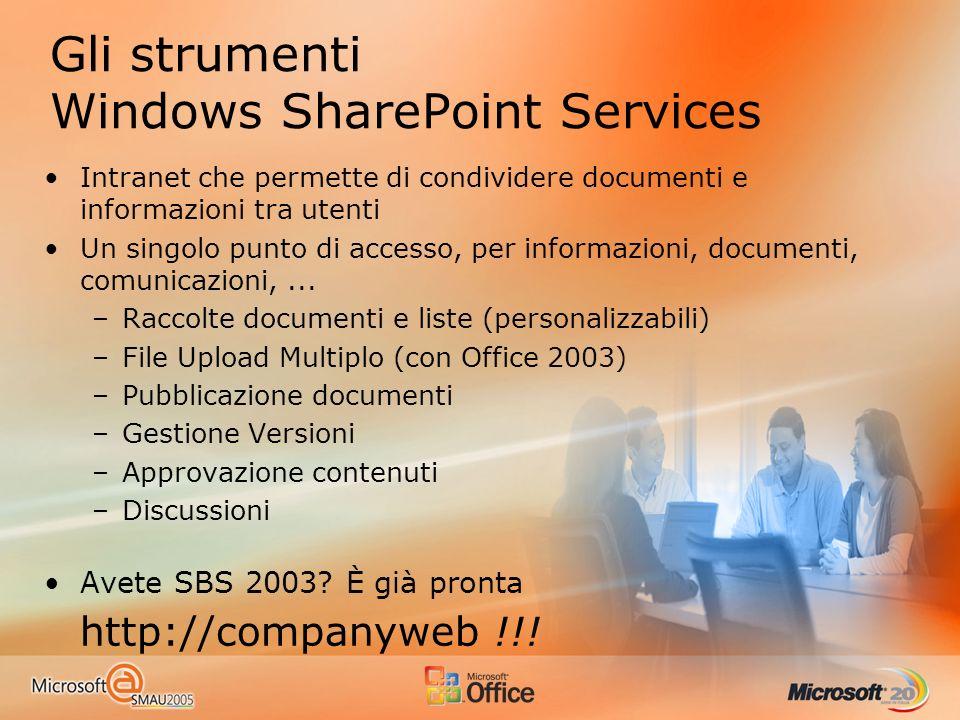 Gli strumenti Windows SharePoint Services Intranet che permette di condividere documenti e informazioni tra utenti Un singolo punto di accesso, per informazioni, documenti, comunicazioni,...