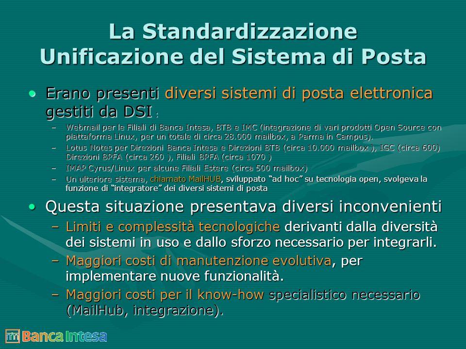 La Standardizzazione Unificazione del Sistema di Posta Erano presenti diversi sistemi di posta elettronica gestiti da DSI :Erano presenti diversi sist