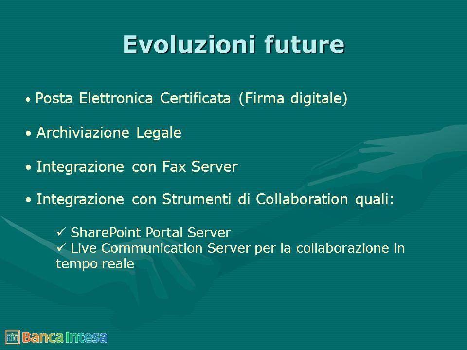 Evoluzioni future Posta Elettronica Certificata (Firma digitale) Archiviazione Legale Integrazione con Fax Server Integrazione con Strumenti di Collab