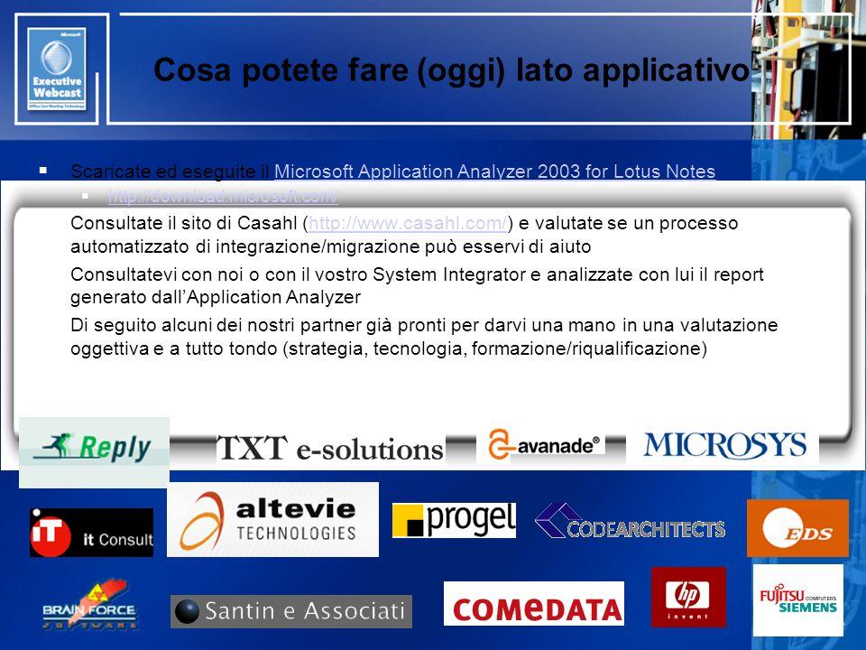 Cosa potete fare (oggi) lato applicativo Scaricate ed eseguite il Microsoft Application Analyzer 2003 for Lotus NotesMicrosoft Application Analyzer 20