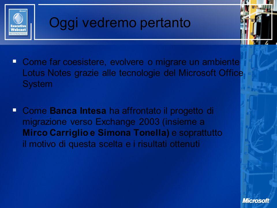 Oggi vedremo pertanto Come far coesistere, evolvere o migrare un ambiente Lotus Notes grazie alle tecnologie del Microsoft Office System Come Banca In