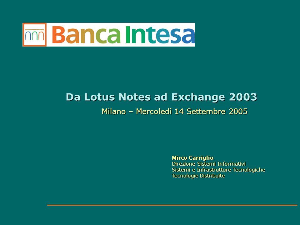 Da Lotus Notes ad Exchange 2003 Milano – Mercoledì 14 Settembre 2005 Mirco Carriglio Direzione Sistemi Informativi Sistemi e Infrastrutture Tecnologic
