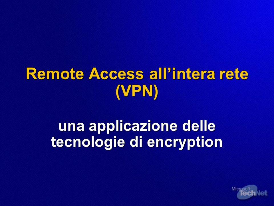 Remote Access allintera rete (VPN) una applicazione delle tecnologie di encryption