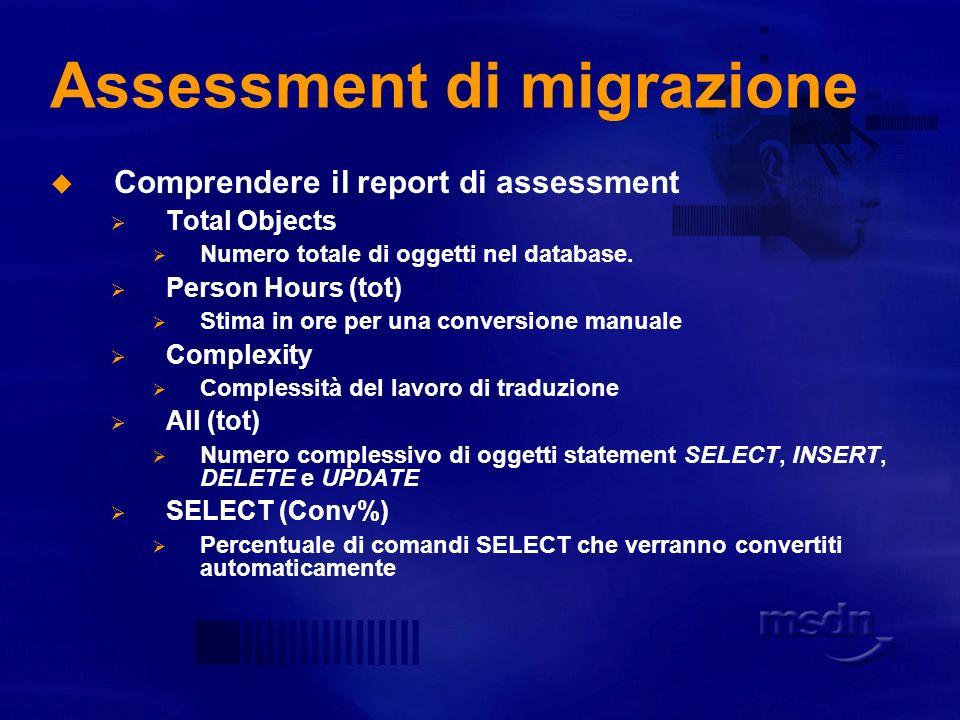 Assessment di migrazione Permette di valutare: Numero totale di righe di codice.