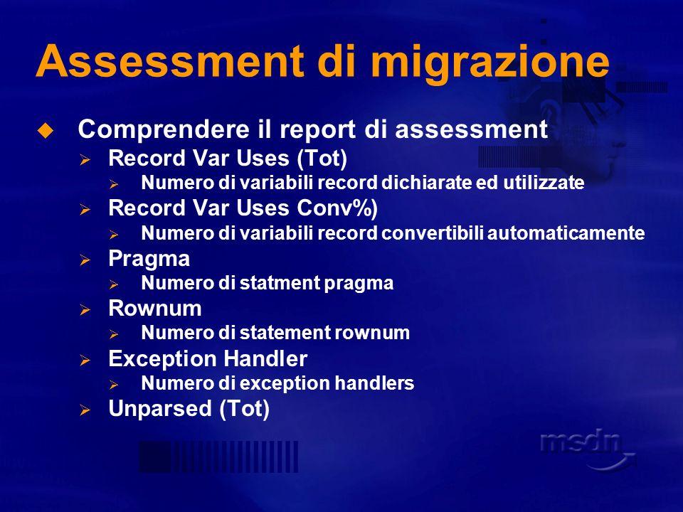 Assessment di migrazione Comprendere il report di assessment Record Type Decl (Tot) Numero complessivo di tipologie di dichiarazioni di record Record Type Decl (Conv%) Numero complessivo di dichiarazioni record convertibili automaticamente Record Var Decl (Tot) Numero complessivo di variabili record dichiarate Record Var Decl (Conv%) Numero complessivo di variabili record convertibili automaticamente