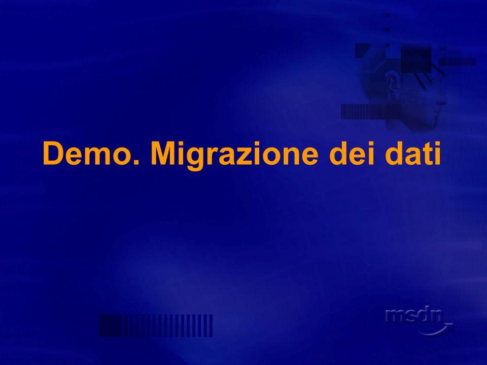 Migrazione dei dati I due server vengono configurati come linked server Possibile scegliere fra due provider: Oracle OLEDB Provider Microsoft OLEDB Provider for Oracle SSMA suggerisce Oracle Provider (supporta anche la migrazione di tipi binary)