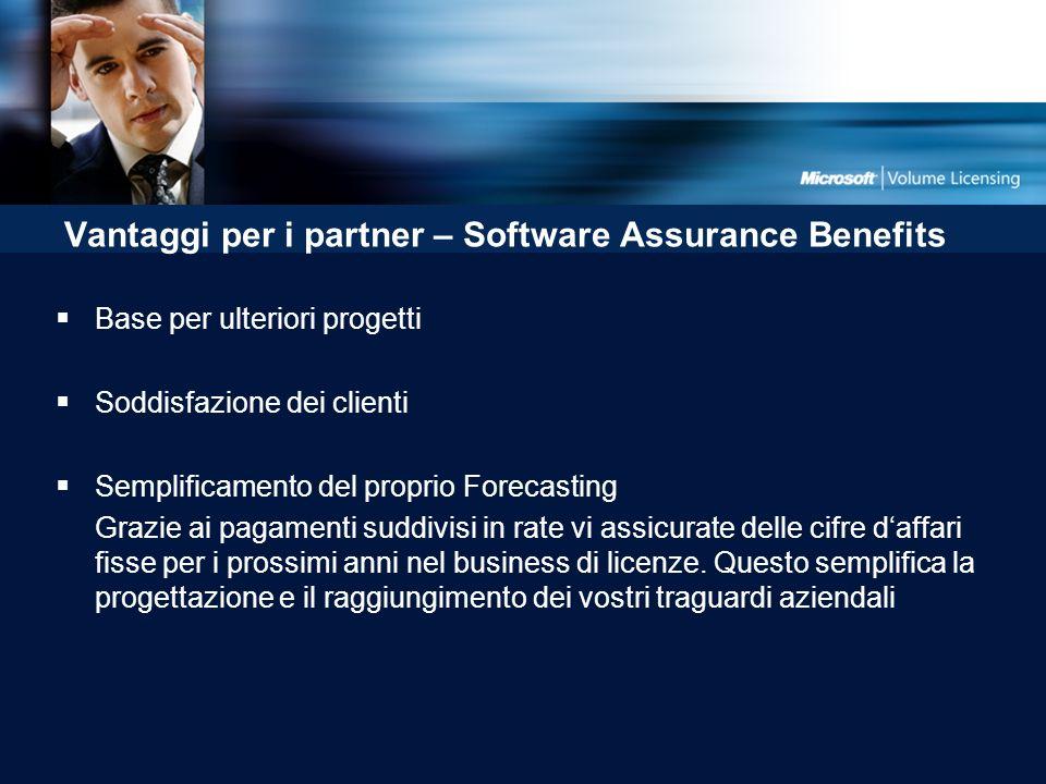 Vantaggi per i partner – Software Assurance Benefits Base per ulteriori progetti Soddisfazione dei clienti Semplificamento del proprio Forecasting Grazie ai pagamenti suddivisi in rate vi assicurate delle cifre daffari fisse per i prossimi anni nel business di licenze.