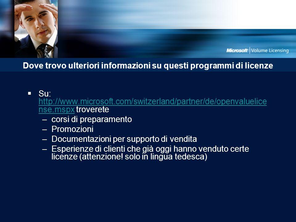 Dove trovo ulteriori informazioni su questi programmi di licenze Su: http://www.microsoft.com/switzerland/partner/de/openvaluelice nse.mspx troverete http://www.microsoft.com/switzerland/partner/de/openvaluelice nse.mspx –corsi di preparamento –Promozioni –Documentazioni per supporto di vendita –Esperienze di clienti che già oggi hanno venduto certe licenze (attenzione.
