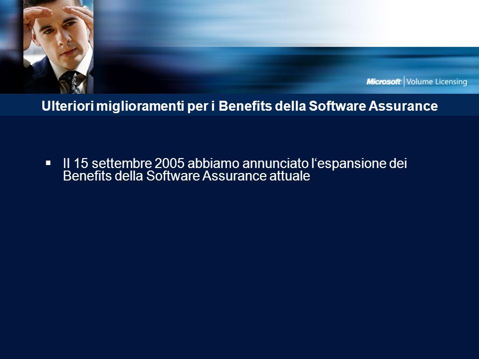 Ulteriori miglioramenti per i Benefits della Software Assurance Il 15 settembre 2005 abbiamo annunciato lespansione dei Benefits della Software Assurance attuale