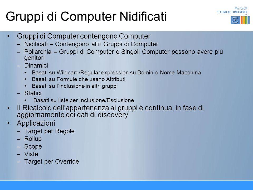 Gruppi di Computer Nidificati Gruppi di Computer contengono Computer –Nidificati – Contengono altri Gruppi di Computer –Poliarchia – Gruppi di Compute