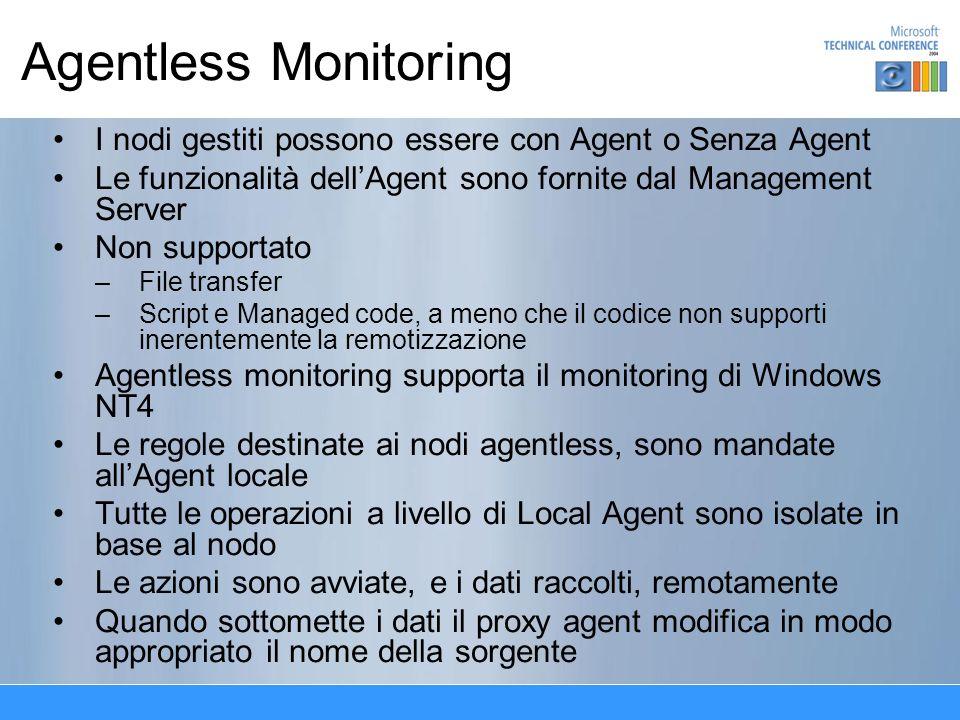 Agentless Monitoring I nodi gestiti possono essere con Agent o Senza Agent Le funzionalità dellAgent sono fornite dal Management Server Non supportato